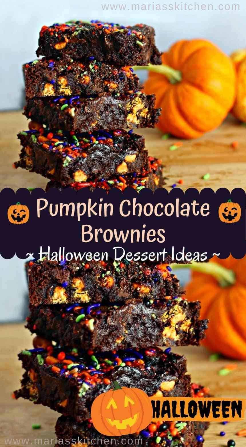 Easy Pumpkin Chocolate Chip Brownies - Halloween Desserts